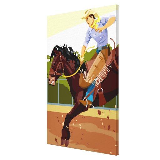 Caballo salvaje bucking del montar a caballo del impresión en lienzo