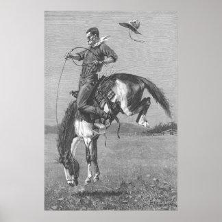 Caballo salvaje Bucking por Remington, vaqueros Póster