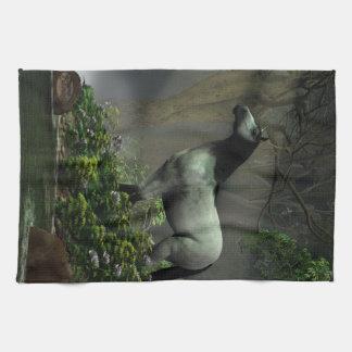 Caballo salvaje en el bosque toallas de cocina