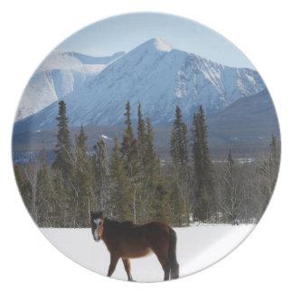 Caballo salvaje en la carretera de Alaska Plato Para Fiesta