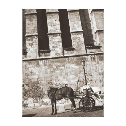 Caballo sin cabeza delante de la catedral vieja impresiones en lona