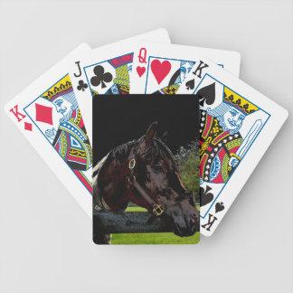 caballo sobre colores oscuros de la vista lateral barajas de cartas
