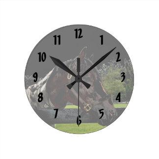 caballo sobre colores oscuros de la vista lateral reloj