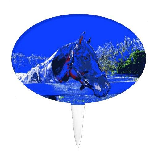 caballo sobre dibujo animado del azul de la vista  palillos de tarta