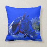 caballo sobre dibujo animado del azul de la vista  cojin
