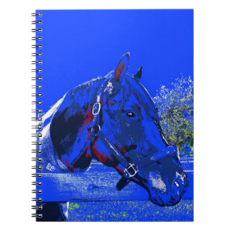 caballo sobre dibujo animado del azul de la vista  libreta espiral