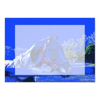 """caballo sobre dibujo animado del azul de la vista invitación 5"""" x 7"""""""