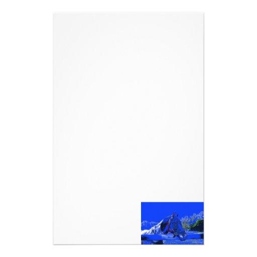 caballo sobre dibujo animado del azul de la vista  papeleria de diseño