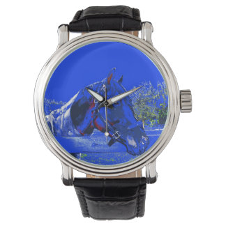 caballo sobre dibujo animado del azul de la vista reloj de mano