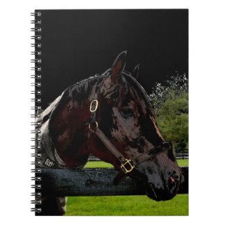 caballo sobre oscuridad de la vista lateral de la libreta espiral