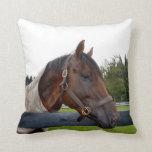 caballo sobre vista lateral de la cerca almohada