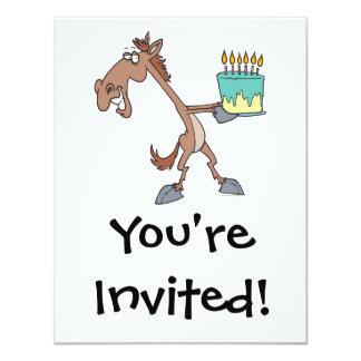 """caballo tonto del cumpleaños con el dibujo animado invitación 4.25"""" x 5.5"""""""
