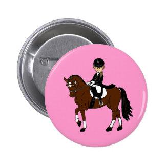Caballo y accesorio personalizados del Dressage Pin Redondo De 2 Pulgadas