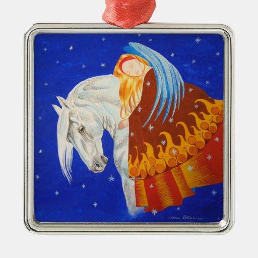 Caballo y ángel adorno navideño cuadrado de metal