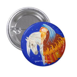 Caballo y ángel pin redondo 2,5 cm