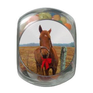 Caballo y arco rojo del navidad frascos de cristal jelly belly