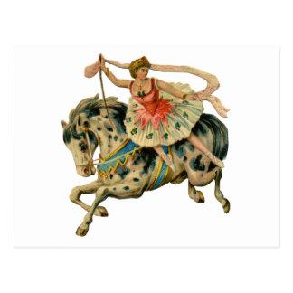 Caballo y bailarín del circo postal