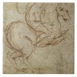 Caballo y caballeros (pluma y tinta en el papel) azulejos