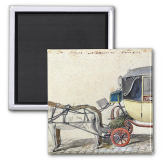 Caballo y carro, 1825 imán cuadrado