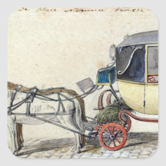 Caballo y carro, 1825 pegatina cuadradas