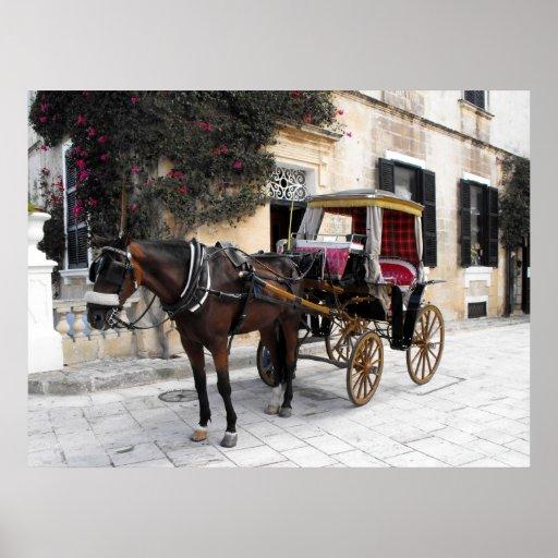 Caballo y carro, Mdina, Malta Póster