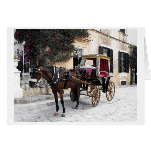 Caballo y carro, Mdina, Malta Tarjeta De Felicitación
