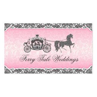 Caballo y carro rosados y negros del boda tarjetas de visita