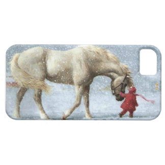 Caballo y chica en nieve iPhone 5 Case-Mate protectores
