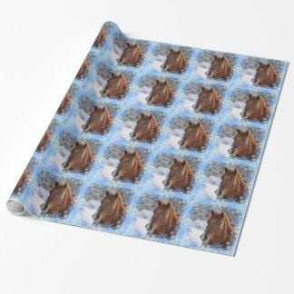Caballo y copos de nieve papel de regalo