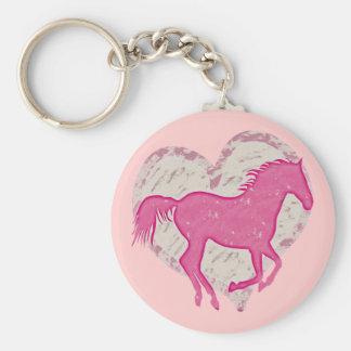 Caballo y corazón rosados llavero personalizado