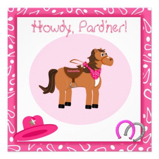 Caballo y fiesta de cumpleaños rosada de la vaquer invitacion personal