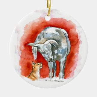 Caballo y gato adorno redondo de cerámica
