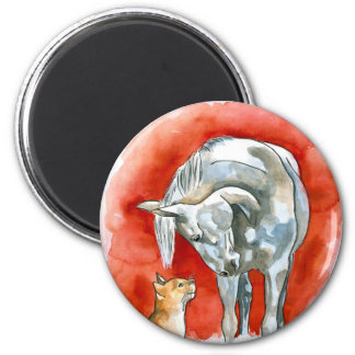 Caballo y gato imán de frigorifico