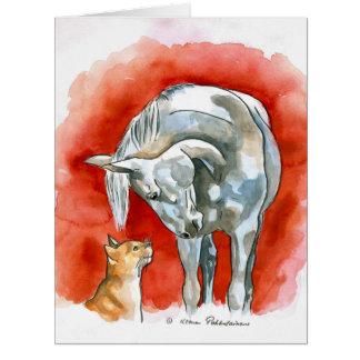 Caballo y gato tarjeta de felicitación grande