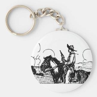 ¡Caballo y jinete, arma dibujado, forajido del Llavero Personalizado