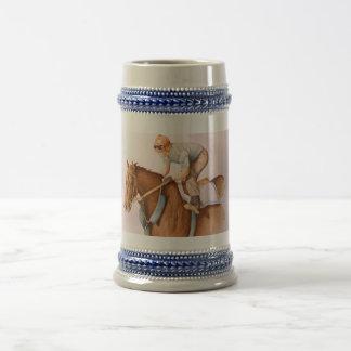 Caballo y jinete de raza jarra de cerveza