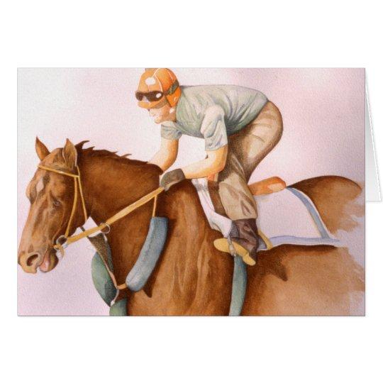 Caballo y jinete de raza tarjeta de felicitación
