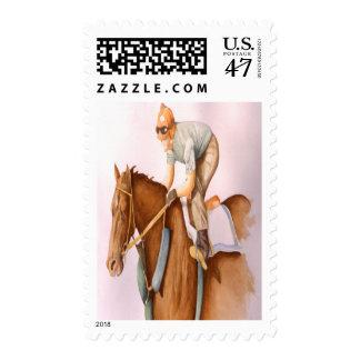 Caballo y jinete de raza timbre postal