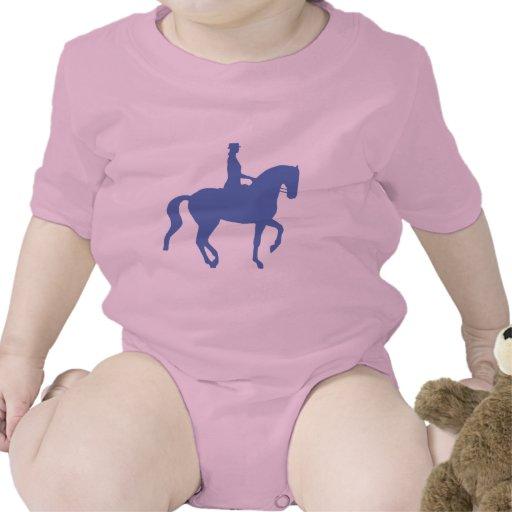 Caballo y jinete del Dressage de Piaffe (azules) Trajes De Bebé