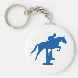 Caballo y jinete del puente del cazador (azules) llaveros personalizados