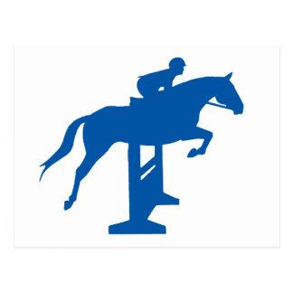 Caballo y jinete del puente del cazador (azules) postal