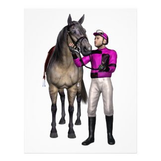 Caballo y jinete en rosa y negro membretes personalizados