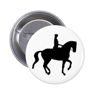 Caballo y jinete (negro) del Dressage de Piaffe Pin Redondo De 2 Pulgadas