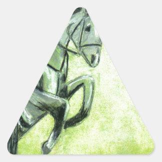 Caballo y jinete pegatina triangular