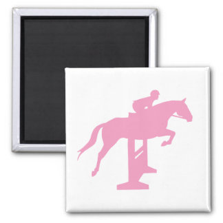 Caballo y jinete (rosa) del puente del cazador iman de frigorífico
