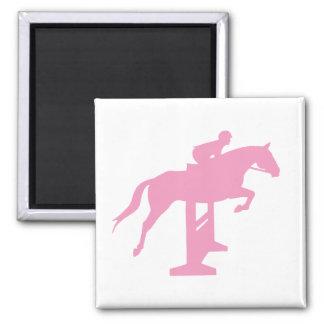 Caballo y jinete (rosa) del puente del cazador imán cuadrado
