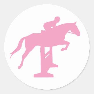 Caballo y jinete (rosa) del puente del cazador pegatina redonda