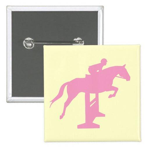 Caballo y jinete (rosa) del puente del cazador pin cuadrada 5 cm