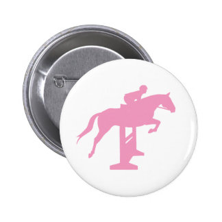 Caballo y jinete (rosa) del puente del cazador pin redondo de 2 pulgadas