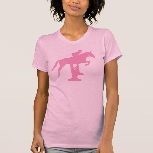 Caballo y jinete (rosa) del puente del cazador camisetas
